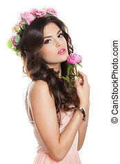 Beautiful Woman with Pink Flowers Isolated on White Background