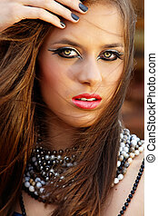 beautiful woman with pink lips