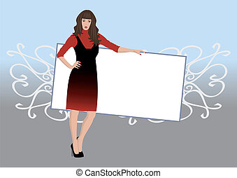 Beautiful woman with poster