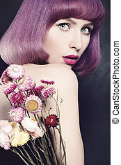 Beautiful Woman with Purple Coloring Hair. Fashion Bob Haircut
