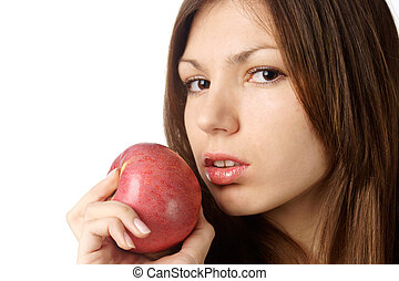 beautiful woman with red apple