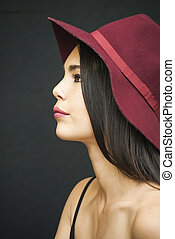 Beautiful  Woman  With Red Hat