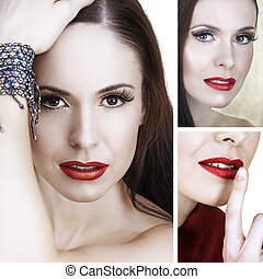 beautiful woman with red lips collage