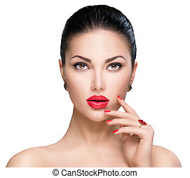 Beautiful woman with red lipstick and red nails