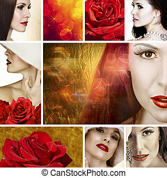 beautiful woman with red roses collage