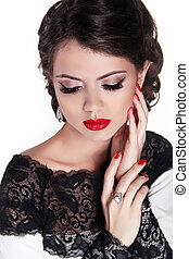 Beautiful woman with sexy gloss red lips and romantic wavy...