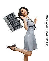 shopping bags - Beautiful woman with shopping bags in hands