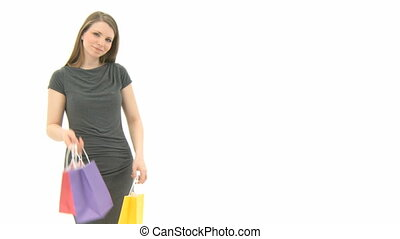 Woman with shopping bags - Beautiful Woman with shopping...