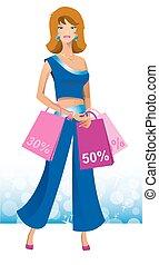 Beautiful woman with shopping.
