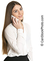 Beautiful woman with smartphone on white background