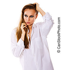 smokey eyes makeup - beautiful woman with smokey eyes makeup...