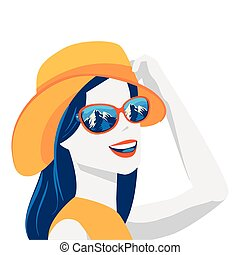 beautiful woman with summer hat and sunglasses