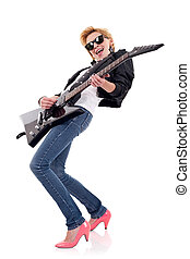 woman with sunglasses playing an electric guitar