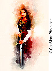 beautiful woman with sword in a historical clothing in cosmic space.