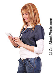 beautiful woman with tablet pc on white