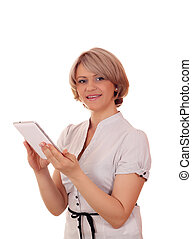 beautiful woman with tablet portrait on white
