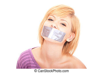 Beautiful woman with tape on mouth