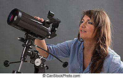 Beautiful woman with telescope