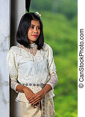 Beautiful Woman with Thai Traditional Dress King Rama 5