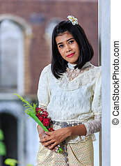 Beautiful Woman with Thai Traditional Dress King Rama 5