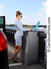 beautiful woman with the laptop