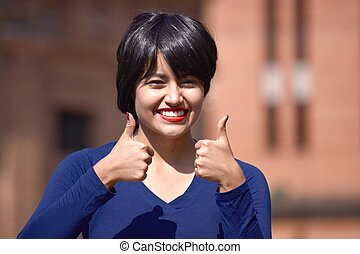 Beautiful Woman With Thumbs Up Wearing A Wig