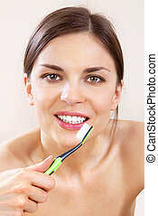 beautiful woman with tooth-brush l