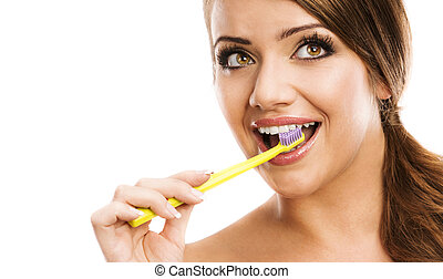 Dental care - Beautiful woman with toothbrush. Dental care...