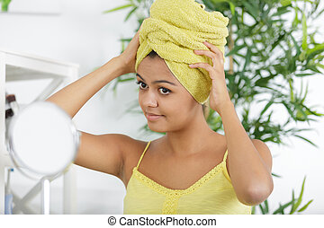 beautiful woman with towel turban