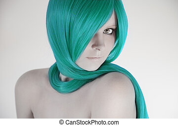 Beautiful woman with turquoise hair