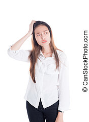Beautiful woman with unhappy face standing over white background