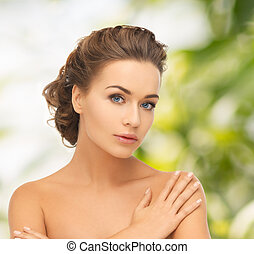 beautiful woman with updo