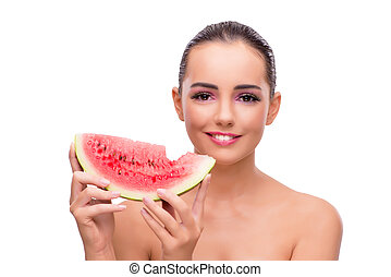 Beautiful woman with watermelon isolated on white