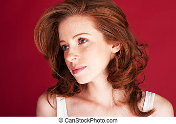 Beautiful Woman With Wistful Eyes - Beautiful redhead woman...