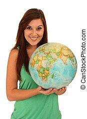 Beautiful Woman with World Globe