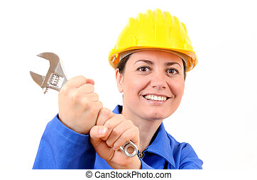 Beautiful woman with wrench in his hand