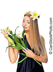 Beautiful woman with yellow flowers