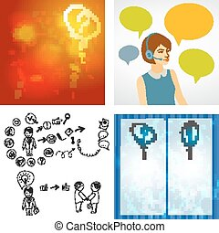 Beautiful woman working in a call center with speech bubbles. Hand doodle Business icon set idea design, job search, resume. Question mark icon sketch. Vector