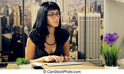 Beautiful woman working in office