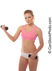 Beautiful woman working with dumbbells