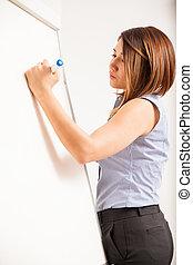 Beautiful woman writing on a board