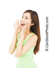 beautiful woman yelling happily isolated on a white background