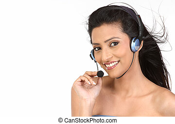 beautiful woman,call center worker