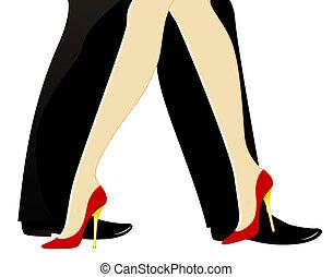 beautiful womanish and masculine legs dance a tango