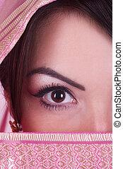 womanish eye in pink yashmak - Beautiful womanish eye in...