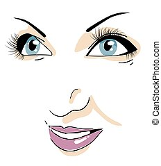 Beautiful woman's face. Closeup. Isolated