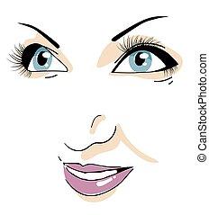 Beautiful woman's face. Closeup. Isolated