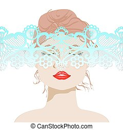 beautiful woman's face with lace