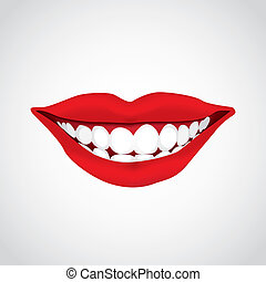 beautiful woman?s  mouth smiling - illustration