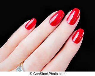 Beautiful womans red fingernails - Beautiful pretty woman's...